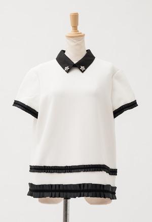 RAOUL 襟付き ビジュー飾り  半袖 トップス