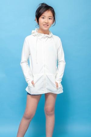 【キッズ:UV加工】ラッシュガード☆ロング/ホワイト/男女兼用