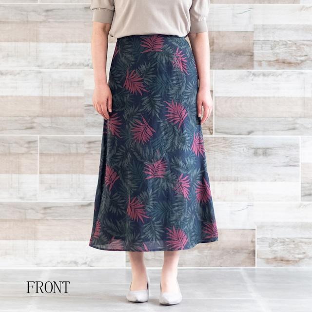【MICA&DEAL/マイカアンドディール】ボタニカルプリントAラインスカート(ネイビー)