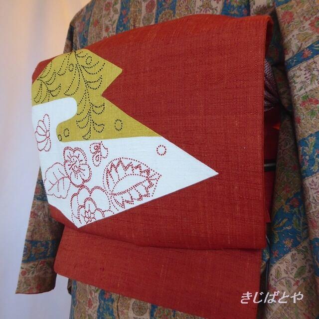 正絹紬 朱に相良刺繍のなごや