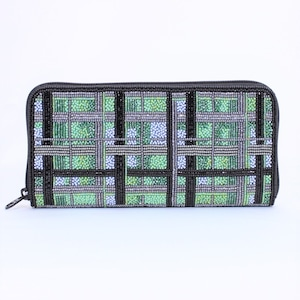 ビーズ刺繡 長財布 (#145 チェックグリーン)