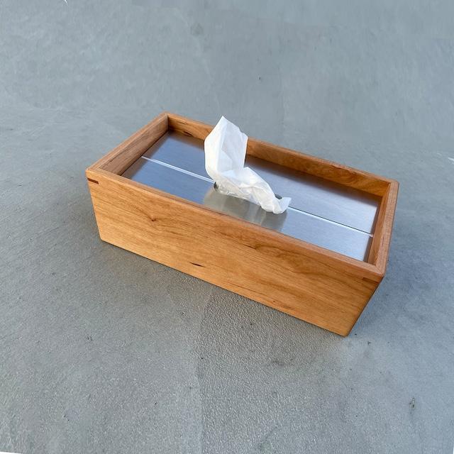 ティッシュボックス :Wood(チェリー材)× アルミ