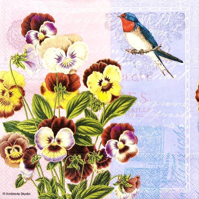 【Ambiente】バラ売り2枚 ランチサイズ ペーパーナプキン Violets ライラック