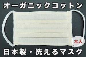 大人用 オーガニックコットンマスク   日本製・洗える プリーツマスク   きなり   3ha