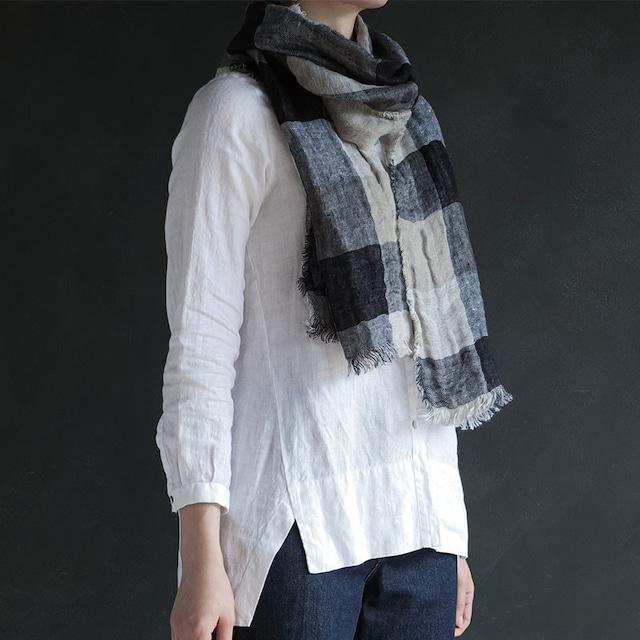 【30%OFF】冷やっとする首元を暖かくしてくれるリネンのショール。クチュム ノワール