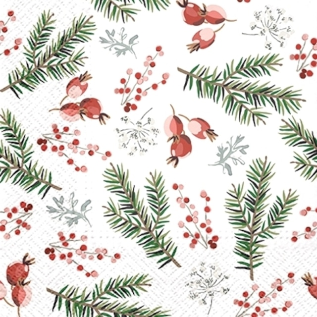 2021秋冬【PAW】バラ売り2枚 ランチサイズ ペーパーナプキン Christmas Berries ホワイト