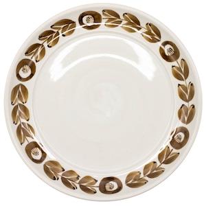 萬古焼 藍窯 ディナープレート 皿 直径26cm 「カメリア」 茶色 AGM-200087