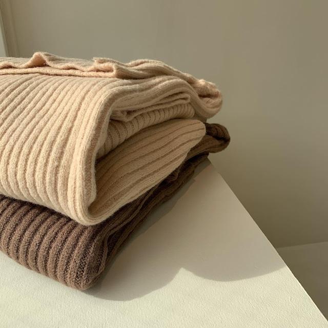 wide long turtle neck knit