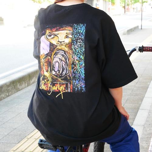 【USED】バックプリント オーバーサイズ 猫 ホラー Tシャツ