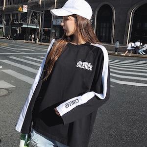 【トップス】ストリート系長袖切り替えプルオーバーアルファベットTシャツ42912844