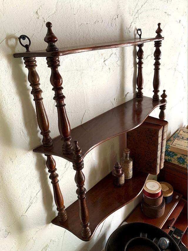 木製 3段シェルフ 壁付棚 ブラウン