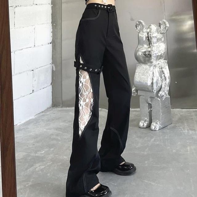 【都谷シリーズ】★カジュアルパンツ★ レース 透かし彫り 個性的 着痩せ ブラック 黒い ロング丈