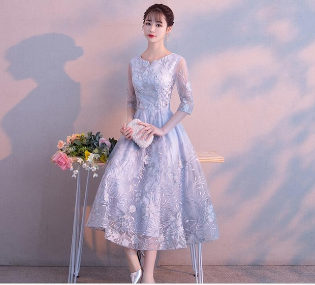 豪華刺繍 パーティドレス