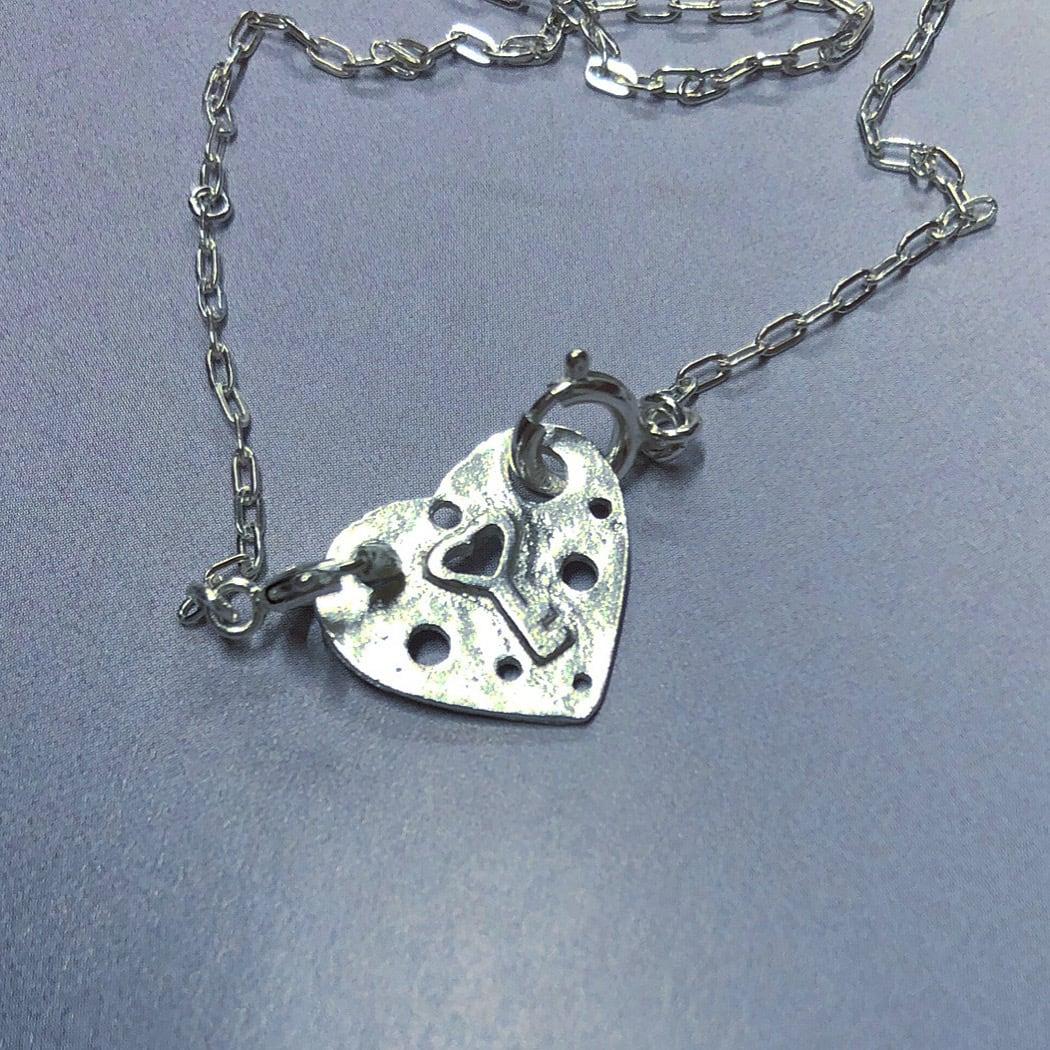 2way HEART punch 鍵 Necklace/ earring SILVER925 #LJ19015N