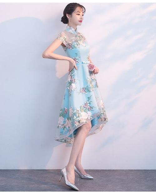 チャイナ風ドレス ショート丈 シースルー 刺繡 二次会 パーティー お呼ばれ wb041