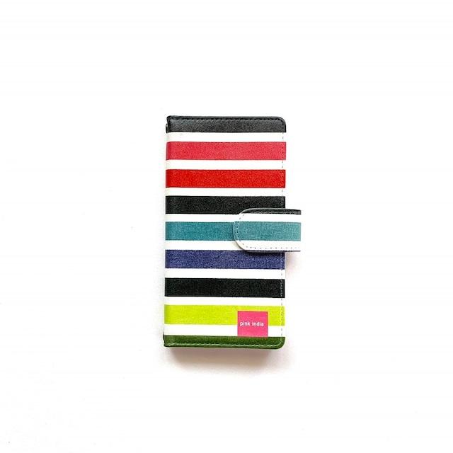 北欧デザイン iPhone手帳型ケース  | multi stripe