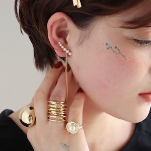 EAR CUFF || 【通常商品】 PEARL & CHAIN EAR CUFF || 1 EAR CUFF || GOLD || FBB073