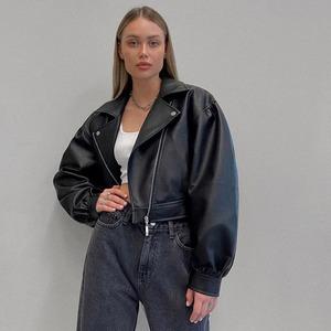 9601レディース レザージャケット 黒 革ジャケット ショート丈 ライダースジャケット 革ジャン