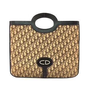 Christian Dior クリスチャン ディオール CD トロッター オブリーク ハンドバッグ 2WAY クラッチ ジャガード ブラウン ヴィンテージ vintage オールド n6xsp8