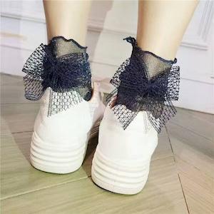 【小物】ファッション不規則ビーズリボン靴下43176335