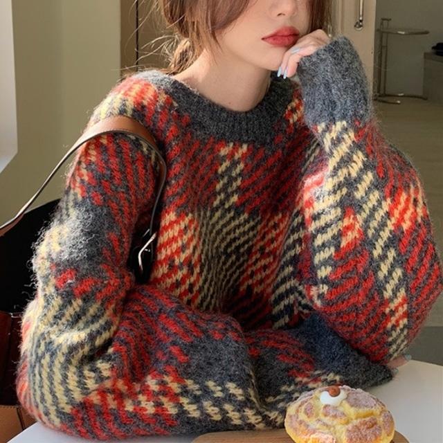 チェック柄ルーズプルオーバーセーター 2色 【210502】 大きいサイズあり
