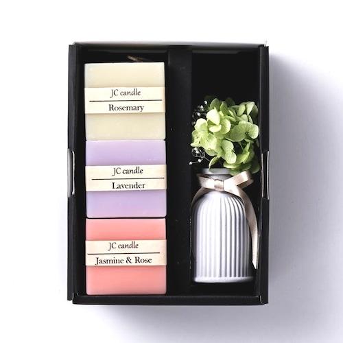 花と癒しのギフトセットH-M/自然素材配合のアロマキャンドル  /お祝い・お返し・お誕生日・母の日