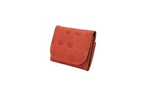 Atelier Kyoto Nishijin/ねこと肉球の型押しが可愛い・牛革・手乗りコンパクト財布・赤丹(あかに)・日本製