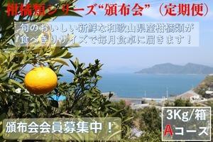 こだわり和歌山県産柑橘類 頒布会(定期便)Aコース【ご家庭用】【3kg /箱×3回コース】送料無料