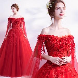 赤 カラードレス ロングドレス ウェディングドレス オフショルダー ステージ 忘年会ドレス 結婚式二次会 イブニングドレス Aライン プリンセス 発表会 披露宴 演奏会 大きいサイズ  小さいサイズ8028