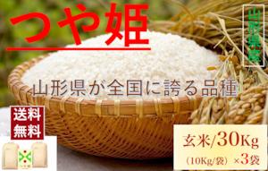 山形県産【つや姫】玄米 30Kg/袋【送料無料】