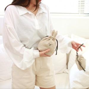 animal string pouch 3types / ウサギ イヌ 巾着ポーチ