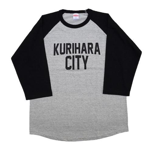 KURIHARA CITY 5.6oz  ラグラン 3/4スリーブ Tシャツ(ミックスグレー×ブラック)