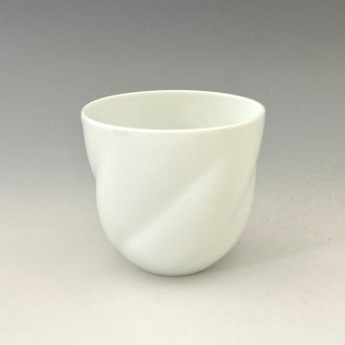 【中尾純】白磁ひねりカップ(丸)