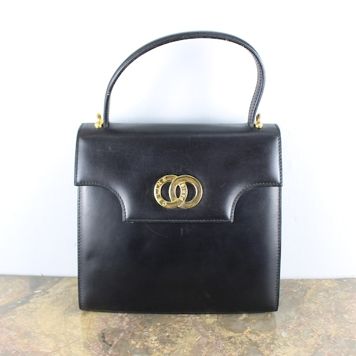 .VINTAGE CELINE DOUBLE CIRCLE LOGO LEATHER HAND BAG MADE IN ITALY/ヴィンテージセリーヌダブルサークルロゴレザーハンドバッグ2000000054667