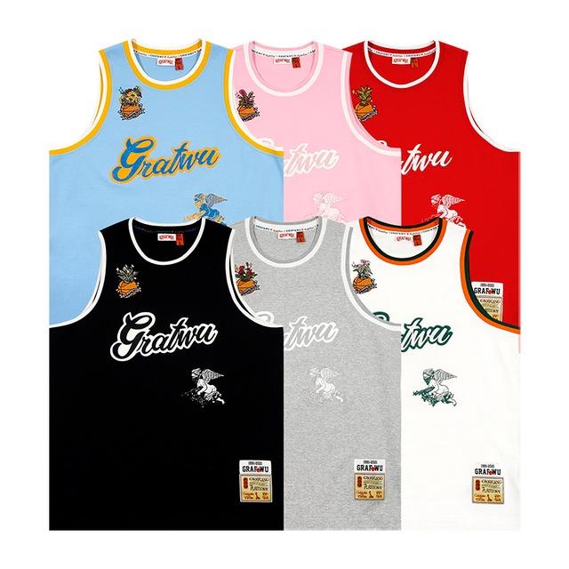 【GRAF】ロゴ&エンジェル刺繍入りバスケットボールタンクトップ