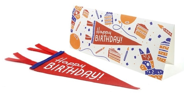 HAPPY BIRTHDAY Greeting Card & Mini Pennant