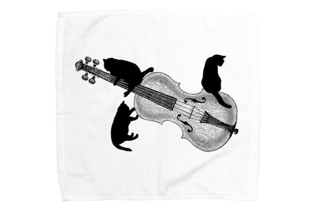 バイオリンと黒猫のミニタオル