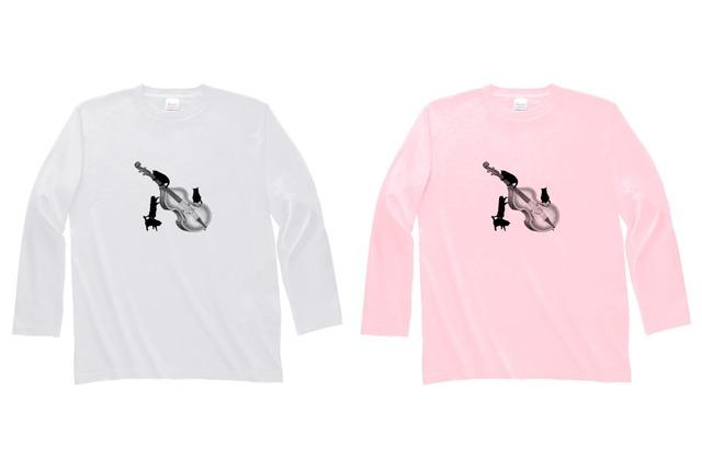 コントラバスと黒猫の長袖Tシャツ