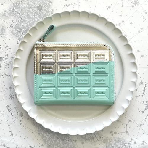 革のミントチョコ ファスナーミニ財布 (銀の包み紙)