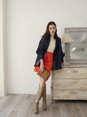 high-waist patchwork suede skirt(orange red)