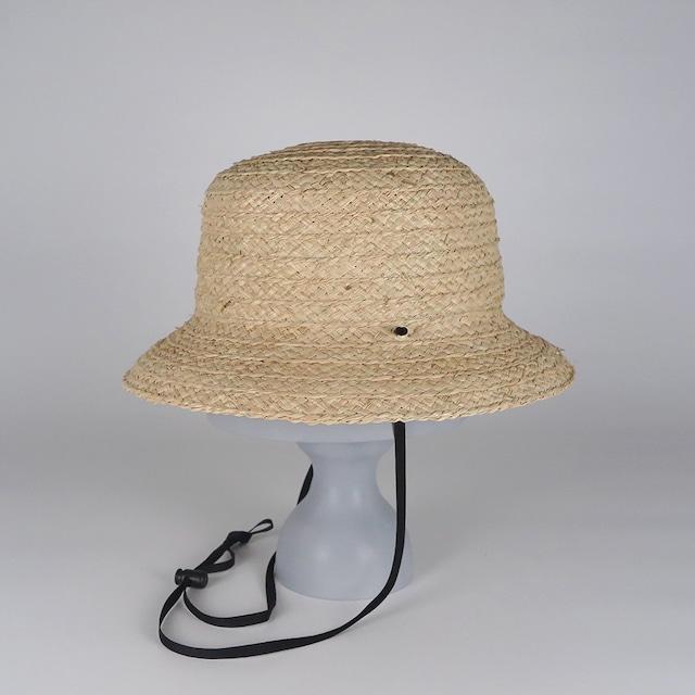 SS21-BD-12 Wide Raffia Bucket Hat - NAT/BLK