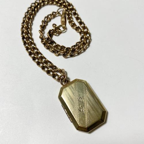 1920's〜30's Antique Art Deco Intial Locket Pendant Necklace