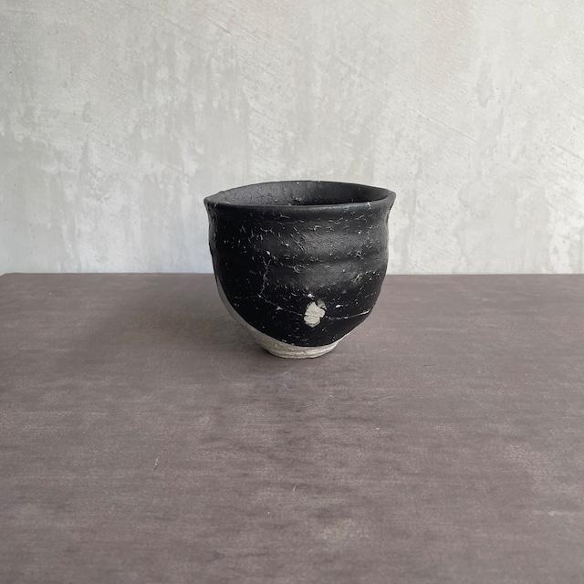 清水善行   黒釉  筒茶碗