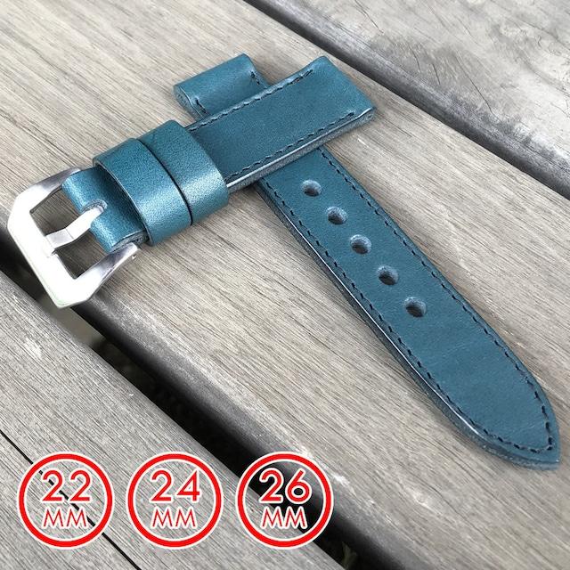 【ラグ幅:22MM/24MM/26MM対応】日本製 ハンドメイド パネライ スタイル オイル染料仕上げ スムース ヌメ革/レザーベルト ブルー ブラックステッチ バックル付き 腕時計 替えベルト SP-H002C6-BLBK LEVEL7