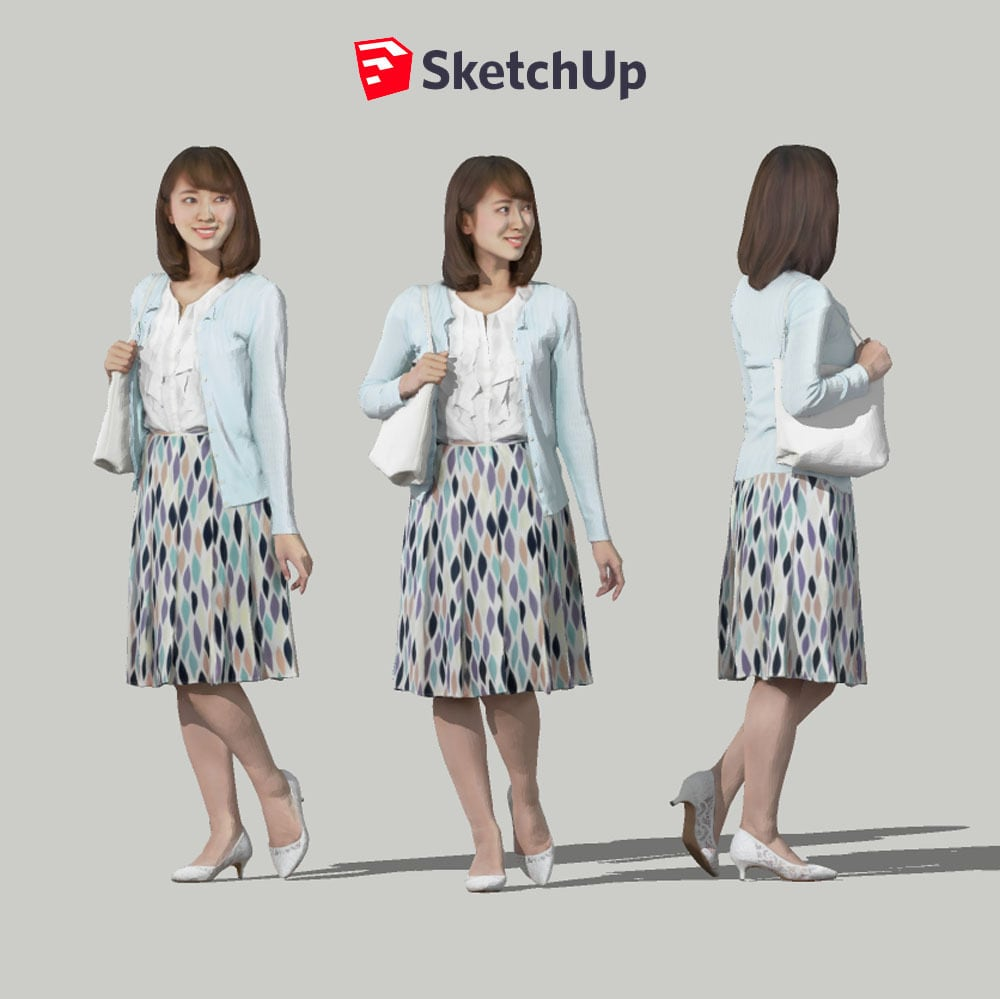 SketchUp素材 3D人物モデル ( Posed ) 019_Kana - 画像1