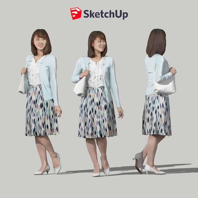 SketchUp素材 3D人物モデル ( Posed ) 019_Kana - メイン画像