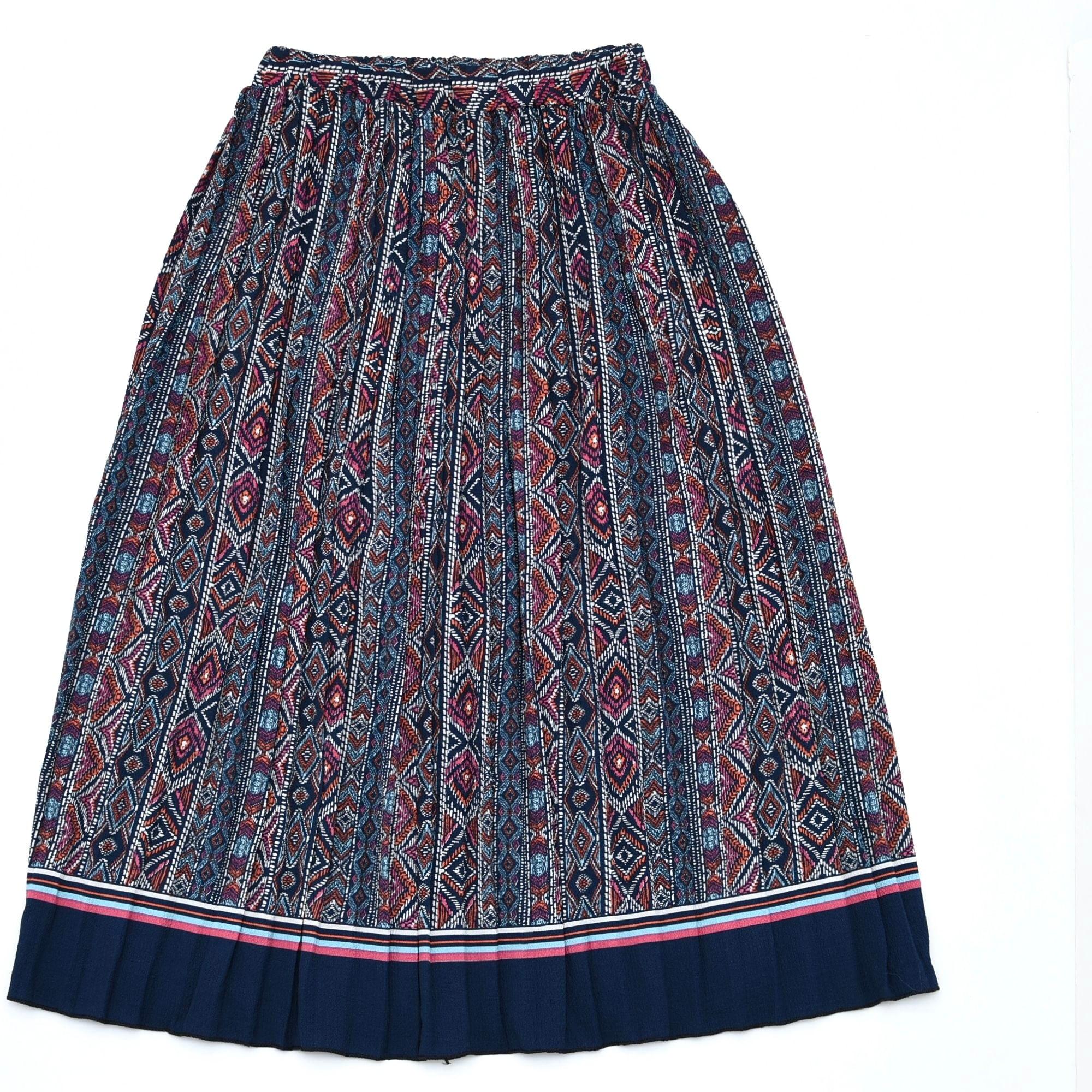Retro ethnic stripe pleated skirt