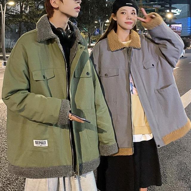 【メンズファッション】大流行新作 ハンサム 個性  男女兼用 ジッパー 長袖 配色 秋冬 折り襟 メンズ ジャケット53914943