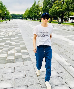 #1  ISE UDON Tシャツ  ホワイト×グレー