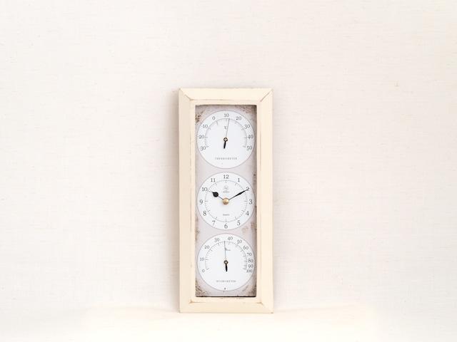 HAKARU ハカル / 温湿度計 時計 Antique Clock アンティーククロック 縦型 壁掛け アイボリー YT-902